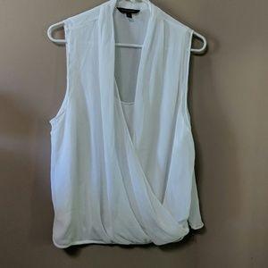 White faux wrap gauzy top